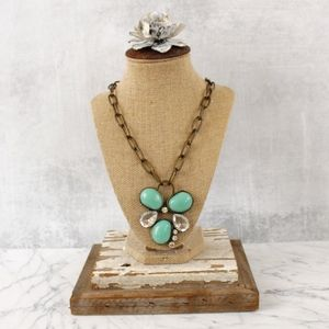 Statement necklace with turquoise and crystal